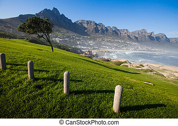 Camps Bay Hillside with Posts - Camps Bay and hillside, Cape...