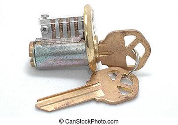 Cutaway lock with right key - Cutaway pin-tumbler lock with...