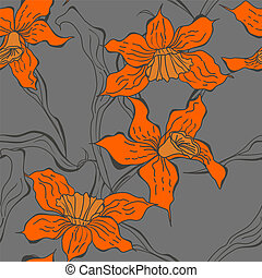 Seamless wallpaper with Narcissus flowers