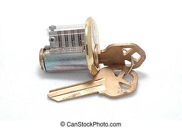 Cutaway lock turned - Cutaway pin-tumbler lock with the lock...