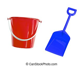 Bucket And Spade - A toy bucket and spade set isolated...