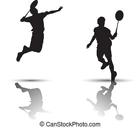 Badminton players silhouette - Vector badminton players...