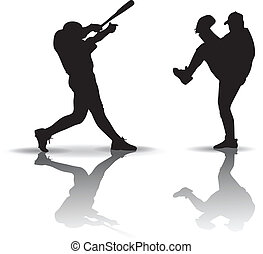 Baseball Silhouette - Baseball players. Silhouette on white...
