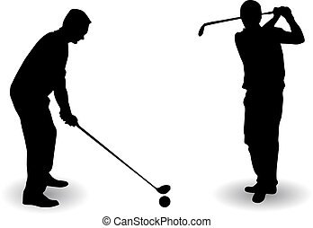 Golf player silhouette - Vector Golf player silhouette on...