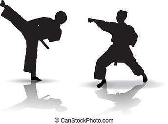 Karate Silhouette - Black vector illustration of karate...