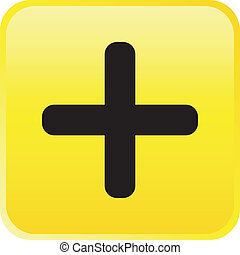 Glossy vector button - plus - The glossy vector button -...