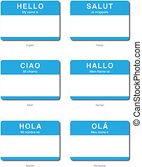 Foreign Language of Hello My name is sticker in English,...