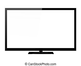 Black led or lcd tv isolated on white background