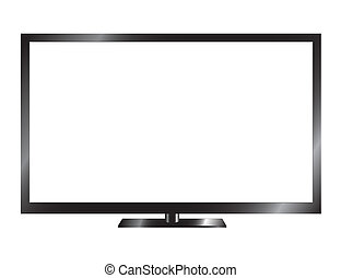 Silver led or lcd tv isolated on white background
