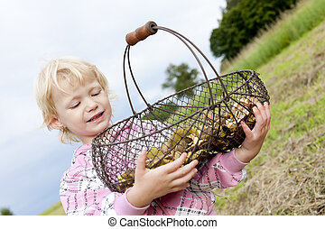 portrait of little girl with basket of mushrooms