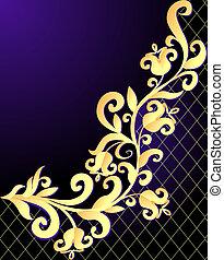 illustration violet background frame with vegetable gold(en) pattern and net