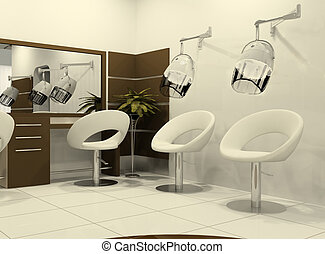Luxurious interior of a hairdressing salon. Air-drying of...