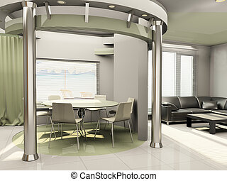 Interior of modern  kitchen with round construction