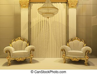 Luxury armchairs in royal interior . Baroque furniture at...