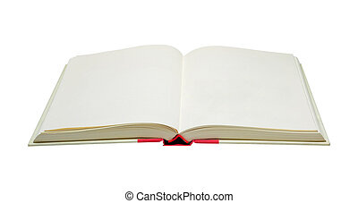 blank old open book with clipping path