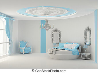 Round bed in baroque bedroom