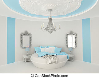 Round bed in baroque interior. Luxurious furniture in Blue...