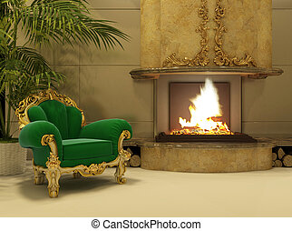 Royal armchair by fireplace in luxury interior