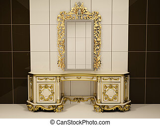 Baroque gold mirror with royal chest