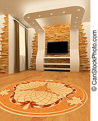 Construction of ceiling and wall with laminated flooring...