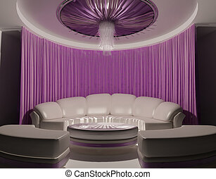 Curtain on the ceiling and sofa in luxury interior