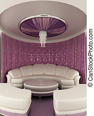 Round tent on the ceiling with Curtain and sofa in luxury...