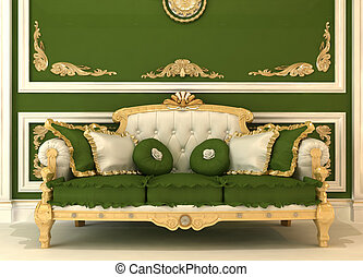 Demonstration of Royal sofa with pillows in green luxury...