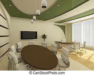 Interior of modern creative office with workplace - Interior...