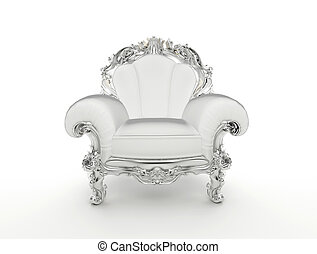 Luxuty baroque armchair with silver frame isolated on white...