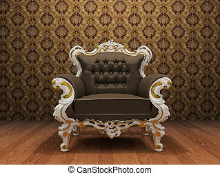 Leather Luxurious armchair in old styled interior with ornament wallpaper