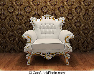 luxurios armchair with decoration frame in old styled interior
