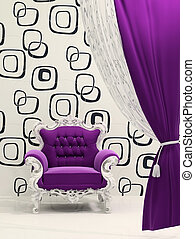 Royal armchair with curtain isolated on ornament wallpaper