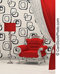 Luxury armchair with standard lamp isolated on abstract...