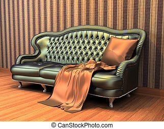 Sofa with pillow and coverlet in interior with stripped...