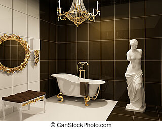 Luxurious furniture with statue of Venus in baroque bathroom...