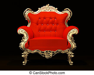 Royal armchair with gold frame isolated on black background