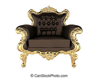 Leather Armchair with luxury gold frame