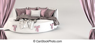 Round bed with pillows and silk coverlet. Opened curtain....