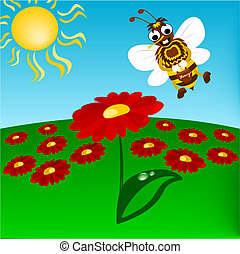 Humble-bee with flowers - Illustration of flying humble-bee...