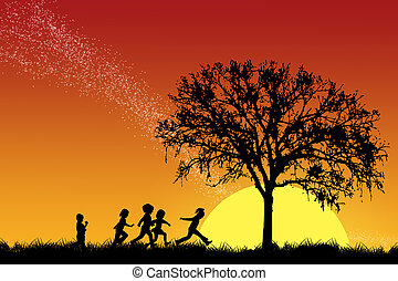 Children running on the grass to the tree with sunset and falling star background