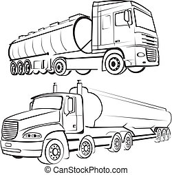 transport by truck - profiles of large trucks to carry goods...
