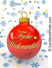 Frohe Weihnachten - Rote Weihnachtskugel mit dem Text Frohe...