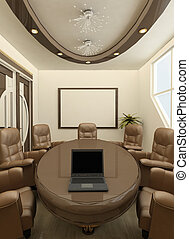 Perspective round table with computer in office interior. Workplaces