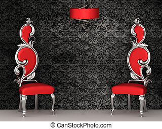 Two red chairs with royal back isolated on ornament wallpapers