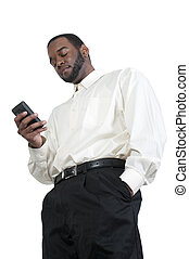 Business Man Texting - Black African American business man...