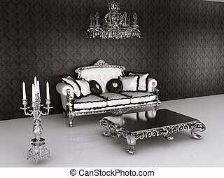 Royal furniture in Baroque interior. Sofa with pillows and...