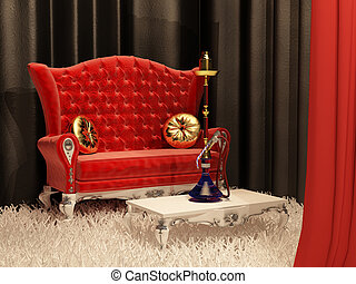 Sofa with pillow and hookah in interior - Sofa with pillow...