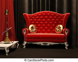 Red sofa and hookah in interior Drapery