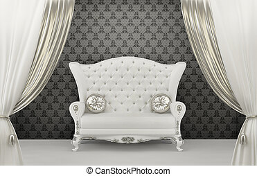 Luxurious Sofa with pillows before wall ornament Armrest