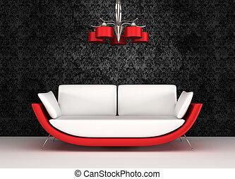 Modern sofa with chandelier in luxurious interior